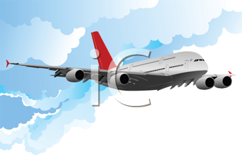 Airplane in flight . Vector illustration for designers