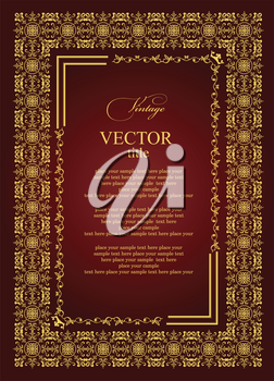 Gold ornament on brown background. Can be used as invitation card or title. Vector illustration