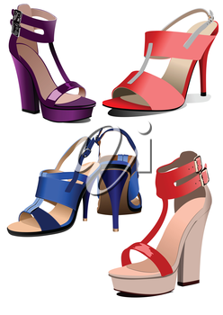 Collection of fashion woman shoes. Vector illustration
