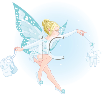 Royalty Free Clipart Image of a Tooth Fairy Holding a Magic Wand and Bag