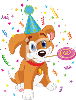 Royalty Free Clipart Image of a Party Puppy With a Lollipop
