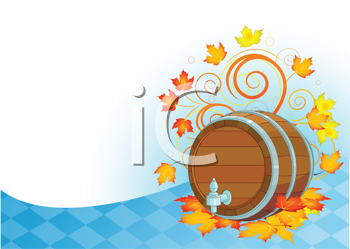 Royalty Free Clipart Image of a Beer Keg and Leaves