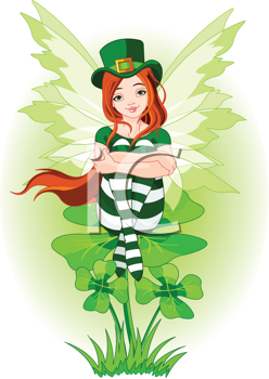 Illustration of Charming St. Patrick's fairy sitting on clover