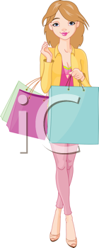 Illustration of Beautiful Girl with shopping bags