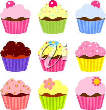Set of various cupcake