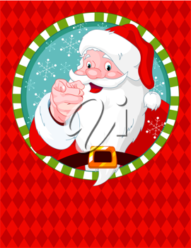Santa Claus pointing. Greeting card