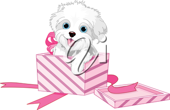 Royalty Free Clipart Image of a Puppy Inside a Gift Box