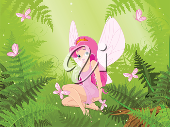Illustration of cute fairy into magic forest