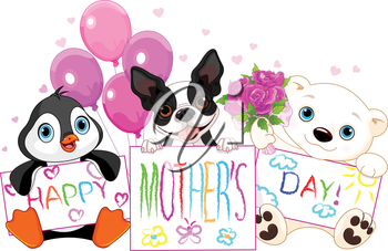 Illustration of cute animal card for mother day