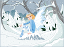 Beautiful winter fairy sitting on ice rock