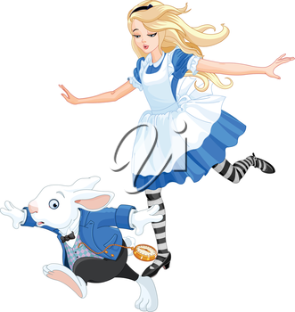 Illustration of Alice chasing after the rabbit