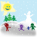 Ryalty Free Clipart Image of a Snowball Fight on a Sunny Winter Day