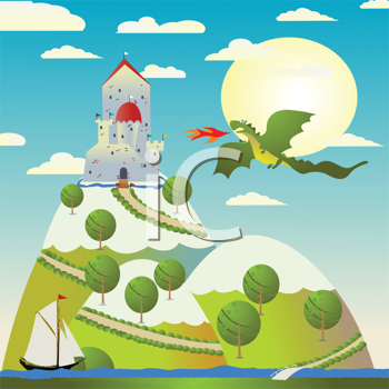 Background with medieval castle and green dragon spitting fire