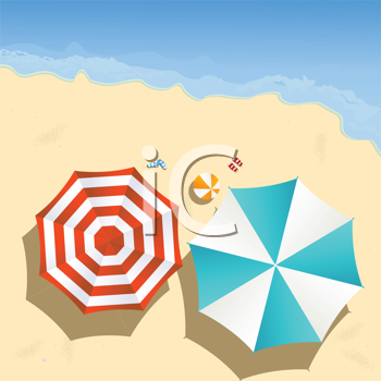Couple of umbrellas on the beach, graphic art