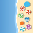 Aerial view of a summer beach with colored umbrellas and toys, slippers and room for your text