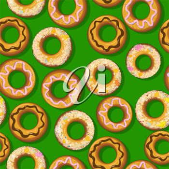 Seamless pattern with fresh donuts. Graphic arts.
