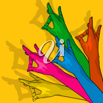 Colored hands showing victory, conceptual gay illustration.
