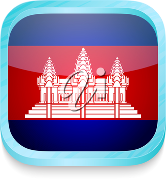 Smart phone button with Cambodia flag