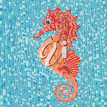 Seahorse mosaic background, vector illustration