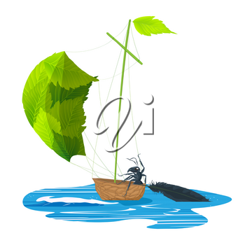 Little ant riding a walnut ship with leaf sails
