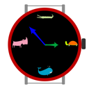 Royalty Free Clipart Image of a Clock With Animals