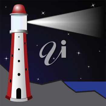 lighthouse in the night, abstract vector art illustration