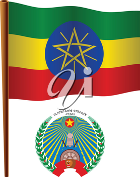 ethiopia wavy flag and coat of arms against white background, vector art illustration, image contains transparency
