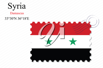 syria stamp design over stripy background, abstract vector art illustration, image contains transparency
