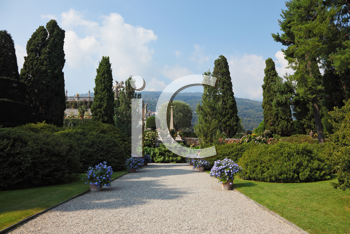 Magnificent decorative park on island Izola Bella. Lake Lago Maggiore, Northern Italy