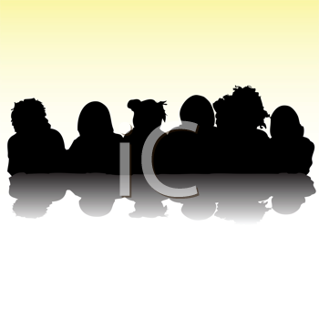 Royalty Free Clipart Image of Kids in Silhouette From the Chest Up