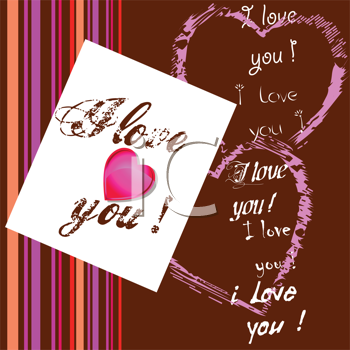 Royalty Free Clipart Image of I Love You Messages on a Chocolate and Striped Background