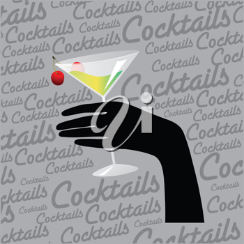 retro background with hand and cocktail