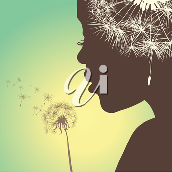 woman with dandelion on gradient background