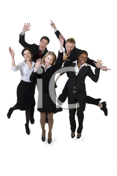 Royalty Free Photo of a Multi-Racial, Multi-Gender Group of Businesspeople Leaping