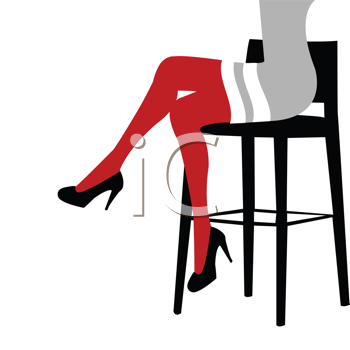 Sexy woman legs staying on a bar chair