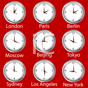 Royalty Free Clipart Image of Clocks Showing Times Around the World
