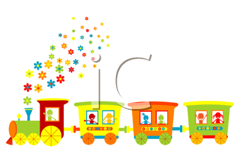 Royalty Free Clipart Image of a Toy Train With Children