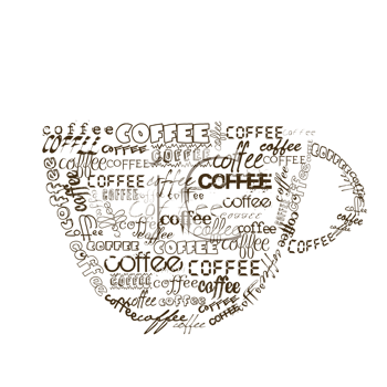 Cup of coffee with different fonts