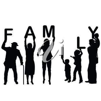 Family concept with children and parents holding letters of the word Family