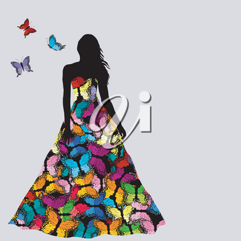 Colorful silhouettes of women and men