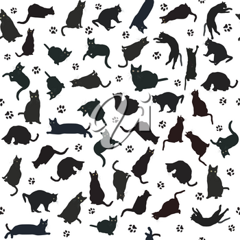 Seamless pattern with black cats silhouettes and paws