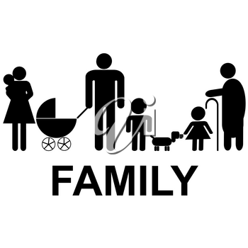 Family icon with children, parents and grandparents