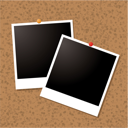 Royalty Free Clipart Image of Polaroids on a Cork Board