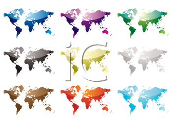 Royalty Free Clipart Image of a Set of World Maps