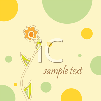 Royalty Free Clipart Image of a Circle and Flower Background With Space for Text