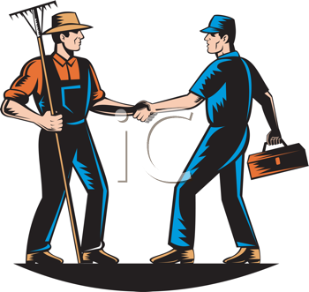 Royalty Free Clipart Image of a Farmer and a Mechanic Shaking Hands