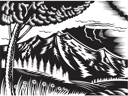 Royalty Free Clipart Image of a Black and White Mountain Scene