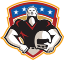 Illustration of an american football gridiron tackle linebacker player hand on hip holding helmet facing front set inside crest shield with stars done in retro style.
