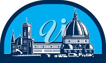Illustration of the Dome of Florence Cathedral or Il Duomo in Piazza del Duomo, Firenze, Italy viewed from far set inside half oval shape,done in retro woodcut style.