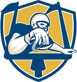 Illustration of an american football gridiron player receiver with ball scoring touchdown under the goal post set inside shield crest done in retro style.